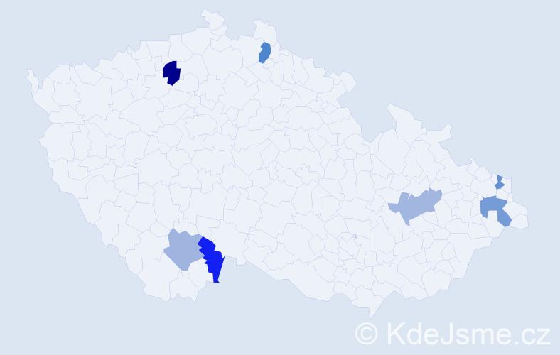 Příjmení: 'Car', počet výskytů 17 v celé ČR
