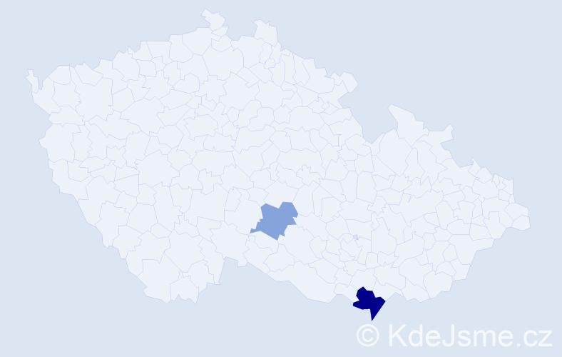 Příjmení: 'Hadbabná', počet výskytů 4 v celé ČR
