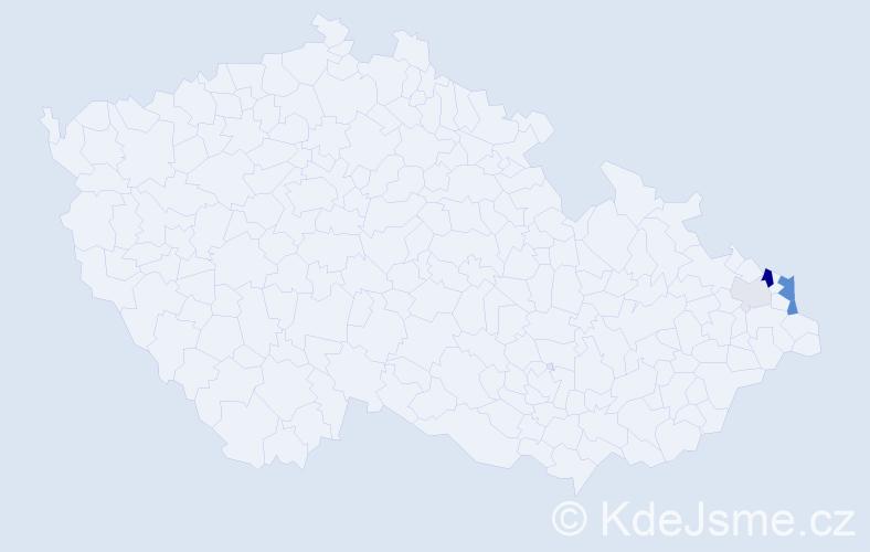 Příjmení: 'Gąsiorová', počet výskytů 13 v celé ČR