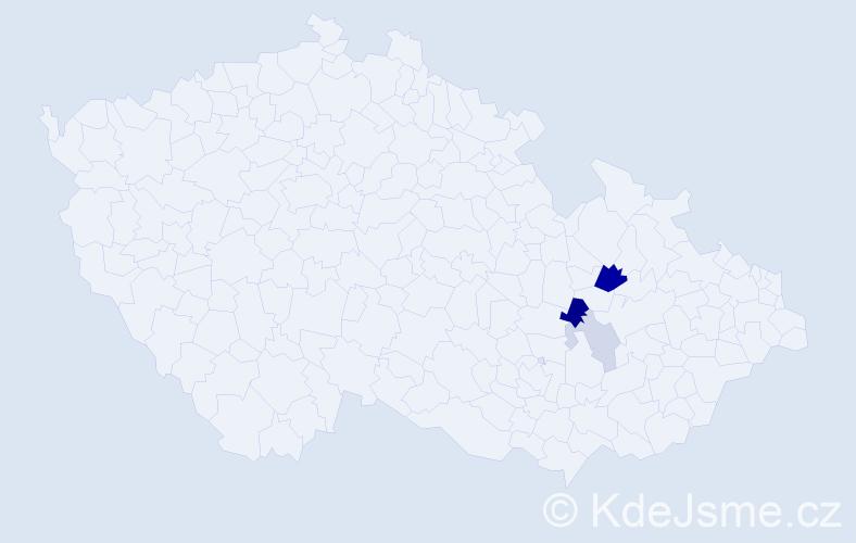 Příjmení: 'Huběnková', počet výskytů 7 v celé ČR