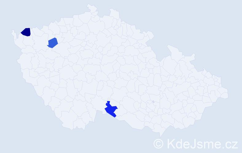 Příjmení: 'Fehérpatakyová', počet výskytů 8 v celé ČR