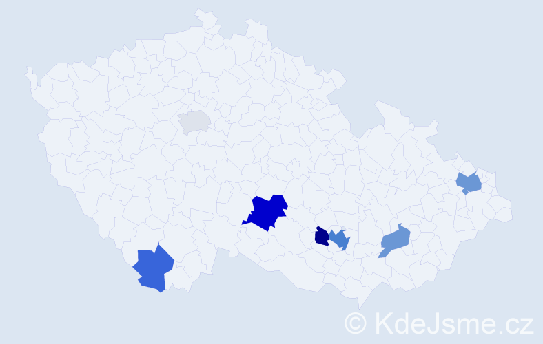Příjmení: 'Lausová', počet výskytů 15 v celé ČR
