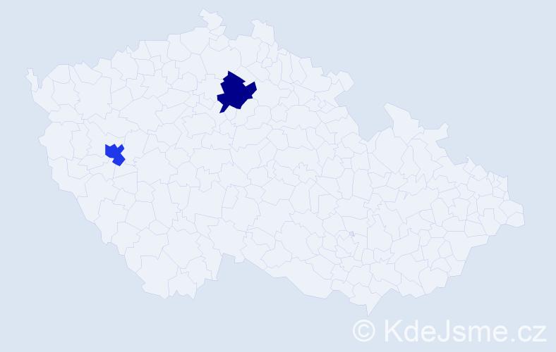 Příjmení: 'Dúcová', počet výskytů 2 v celé ČR