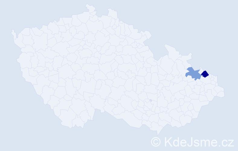 Příjmení: 'Baday', počet výskytů 8 v celé ČR