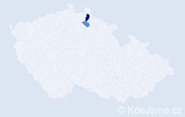 Příjmení: 'Ďúran', počet výskytů 5 v celé ČR