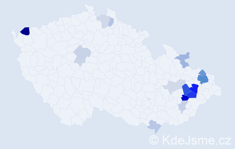 Příjmení: 'Irglová', počet výskytů 46 v celé ČR