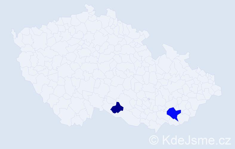 Příjmení: 'Choravý', počet výskytů 7 v celé ČR