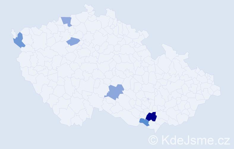 Příjmení: 'Kanev', počet výskytů 12 v celé ČR