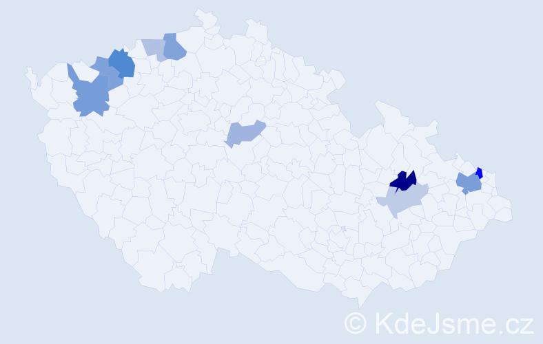 Příjmení: 'Dadu', počet výskytů 20 v celé ČR