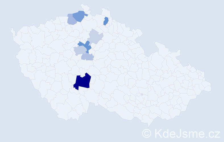 Příjmení: 'Bejdl', počet výskytů 33 v celé ČR