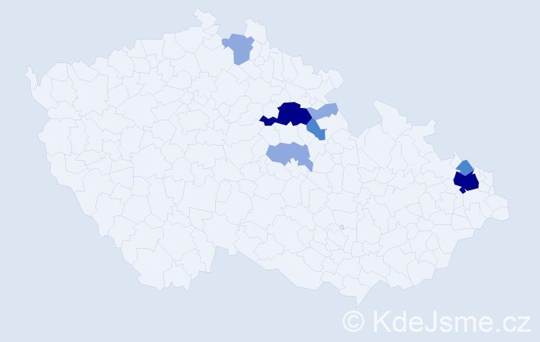 Příjmení: 'Endeová', počet výskytů 17 v celé ČR