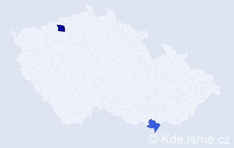 Příjmení: 'Dičér', počet výskytů 3 v celé ČR