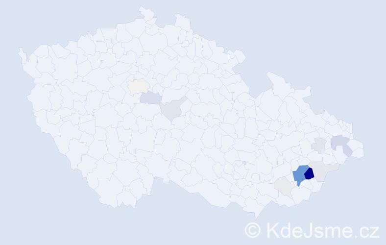 Příjmení: 'Mahďák', počet výskytů 43 v celé ČR