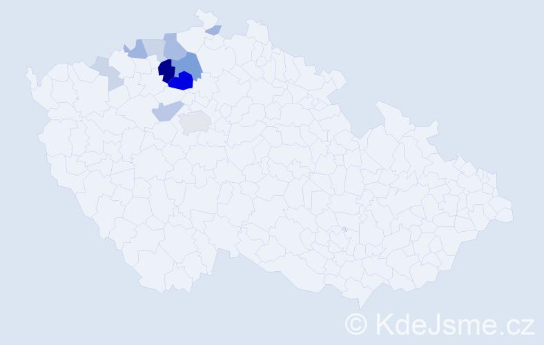 Příjmení: 'Kotě', počet výskytů 39 v celé ČR