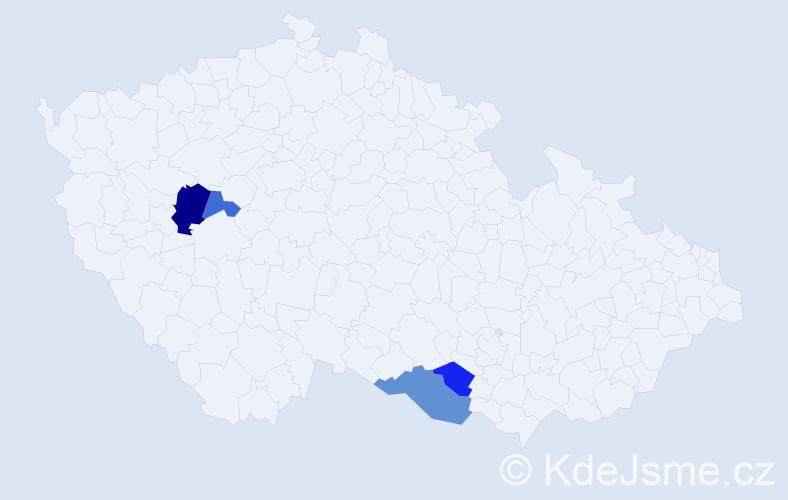 Příjmení: 'Irmann', počet výskytů 7 v celé ČR