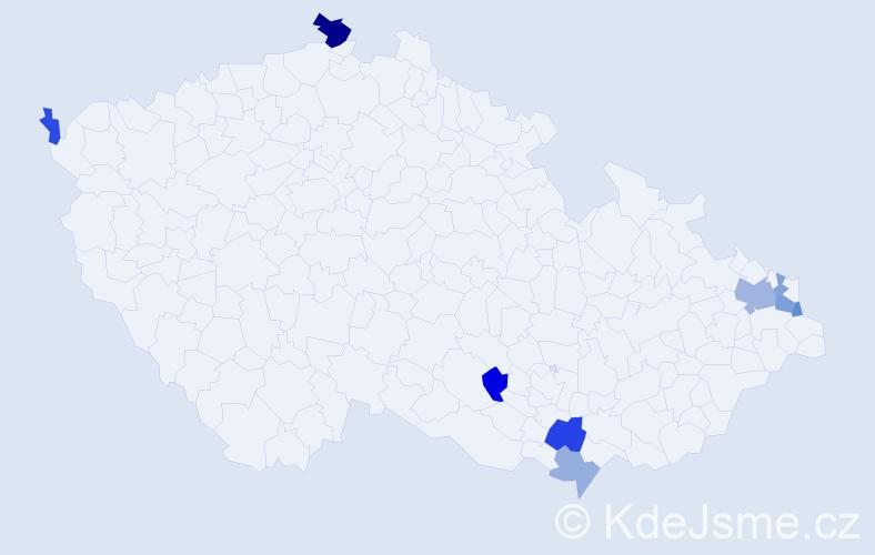 Příjmení: 'Lehoczki', počet výskytů 15 v celé ČR