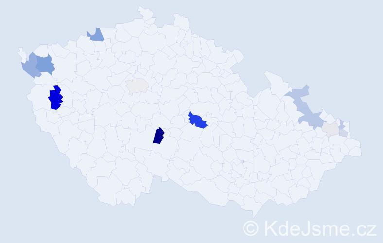 Příjmení: 'Kertis', počet výskytů 24 v celé ČR