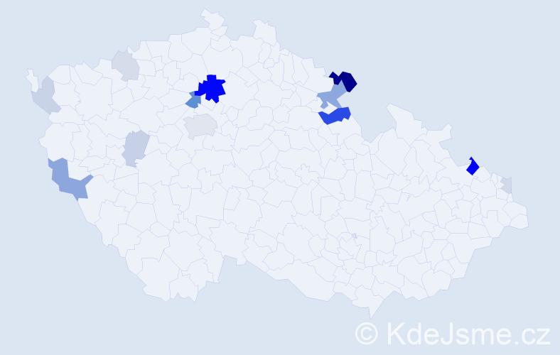 Příjmení: 'Kahlerová', počet výskytů 36 v celé ČR