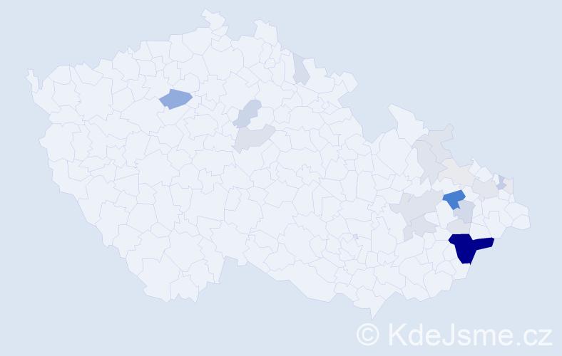 Příjmení: 'Čablíková', počet výskytů 79 v celé ČR