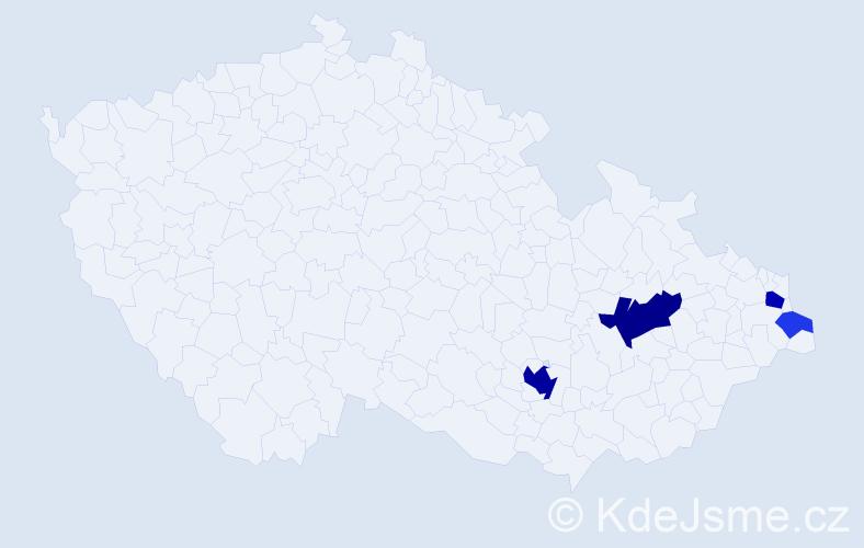 Příjmení: 'Eštvan', počet výskytů 12 v celé ČR