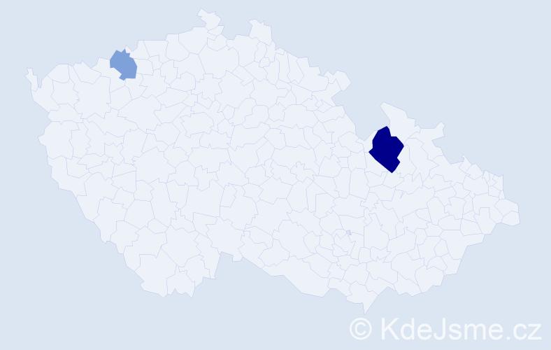 Příjmení: 'Baženovová', počet výskytů 18 v celé ČR