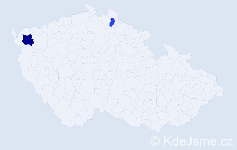 Příjmení: 'Habererová', počet výskytů 3 v celé ČR