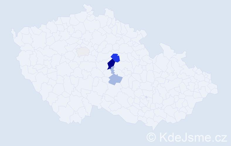 Příjmení: 'Hostan', počet výskytů 7 v celé ČR