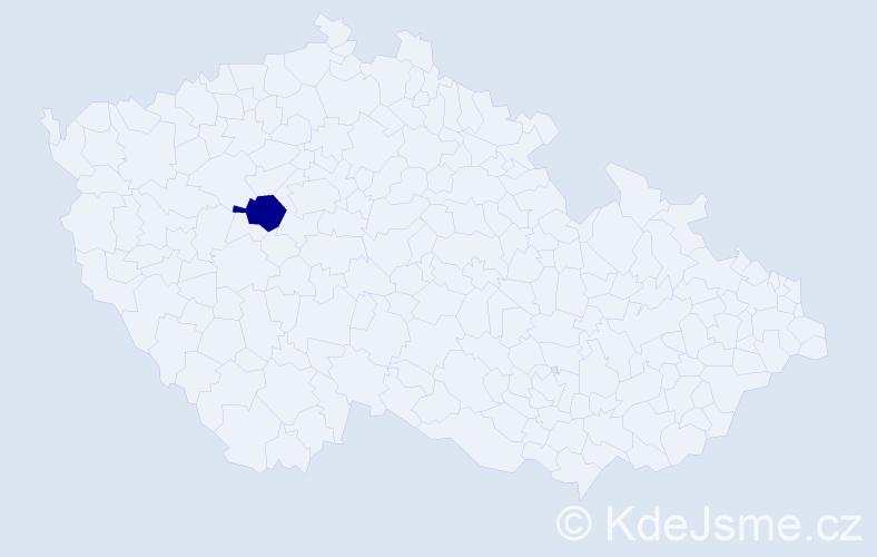 """Příjmení: '""""La Mantia Magulová""""', počet výskytů 1 v celé ČR"""