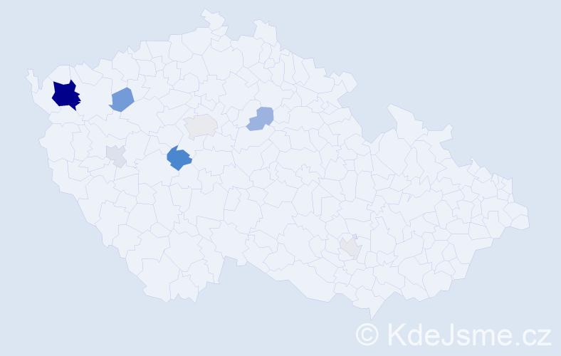 Příjmení: 'Hankerová', počet výskytů 22 v celé ČR