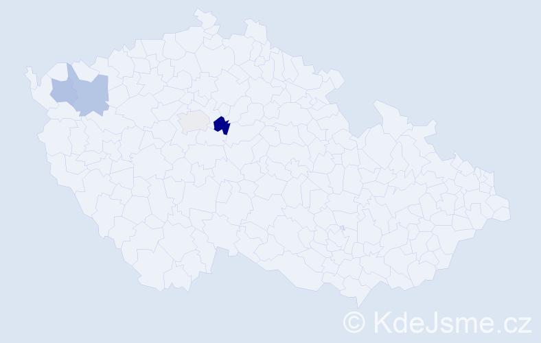 Příjmení: 'Gyarfaš', počet výskytů 5 v celé ČR