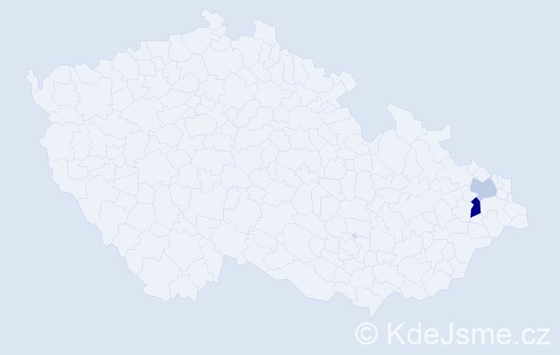 Příjmení: 'Čefelin', počet výskytů 3 v celé ČR