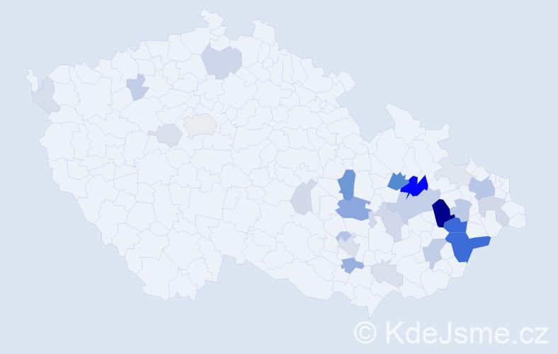 Příjmení: 'Kořístková', počet výskytů 95 v celé ČR