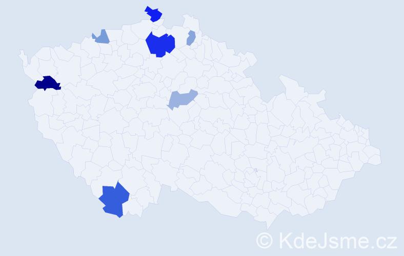 Příjmení: 'Gendráč', počet výskytů 13 v celé ČR