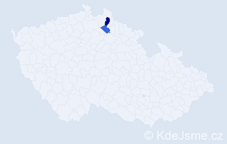 Příjmení: 'Danilevič', počet výskytů 4 v celé ČR