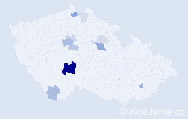 Příjmení: 'Čásenská', počet výskytů 38 v celé ČR