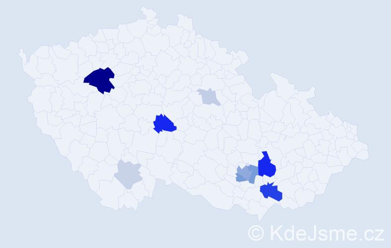 Příjmení: 'Krajtlová', počet výskytů 25 v celé ČR