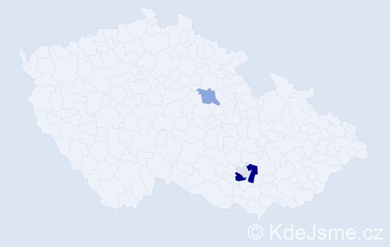 Příjmení: 'Hlučková', počet výskytů 18 v celé ČR