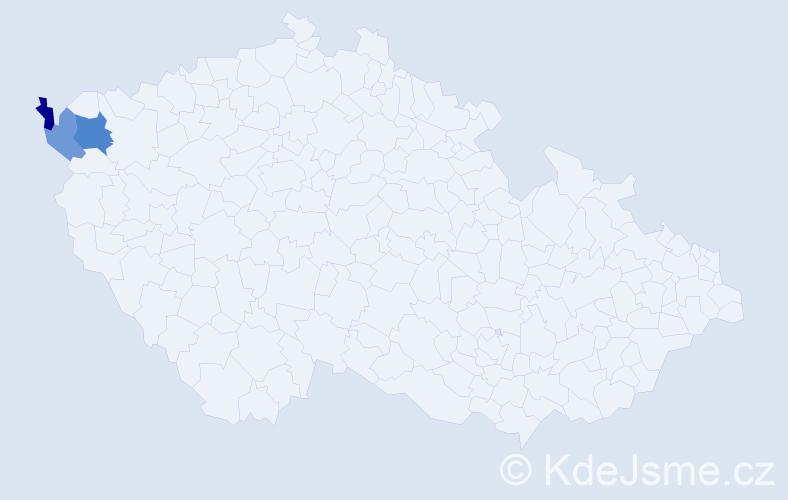 Příjmení: 'Hakeľ', počet výskytů 4 v celé ČR