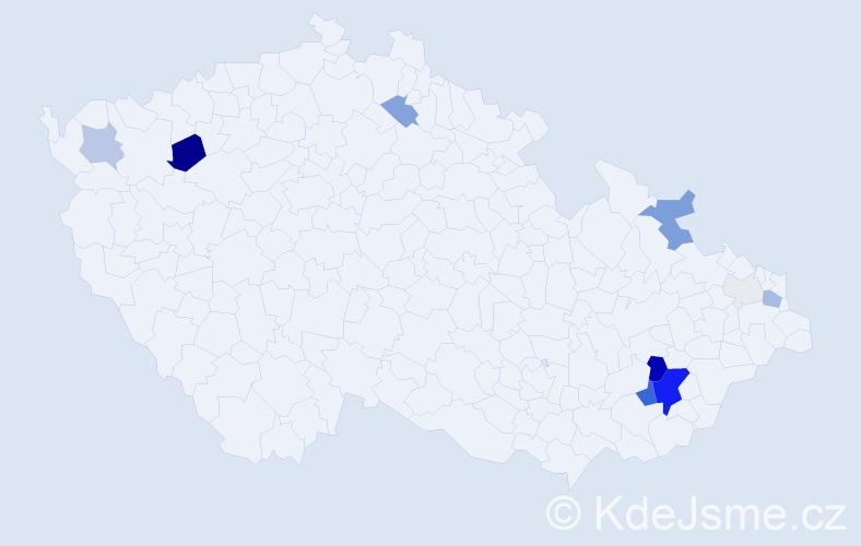 Příjmení: 'Bezděčík', počet výskytů 40 v celé ČR
