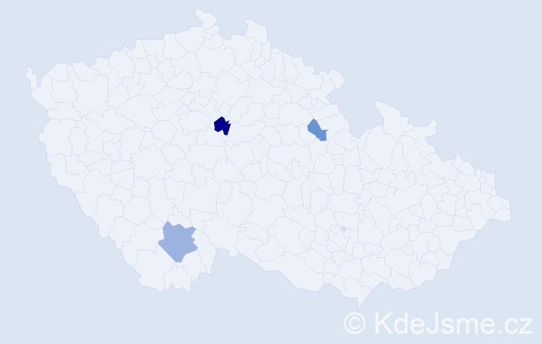Příjmení: 'Gurčíková', počet výskytů 5 v celé ČR