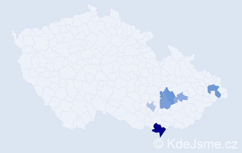 Příjmení: 'Laucká', počet výskytů 12 v celé ČR