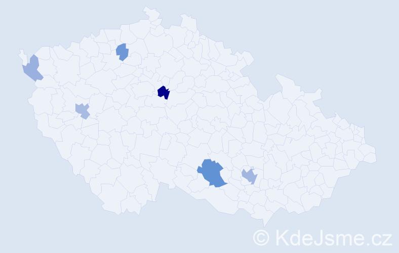 Příjmení: 'Čolakovová', počet výskytů 13 v celé ČR