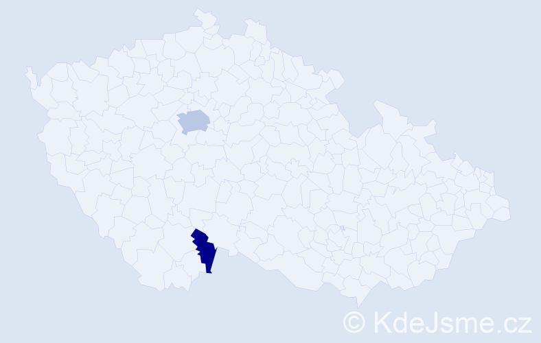 Příjmení: 'Kajznerová', počet výskytů 4 v celé ČR
