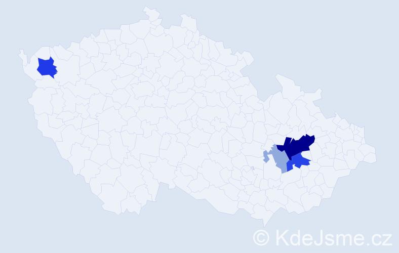 Příjmení: 'Gárský', počet výskytů 14 v celé ČR