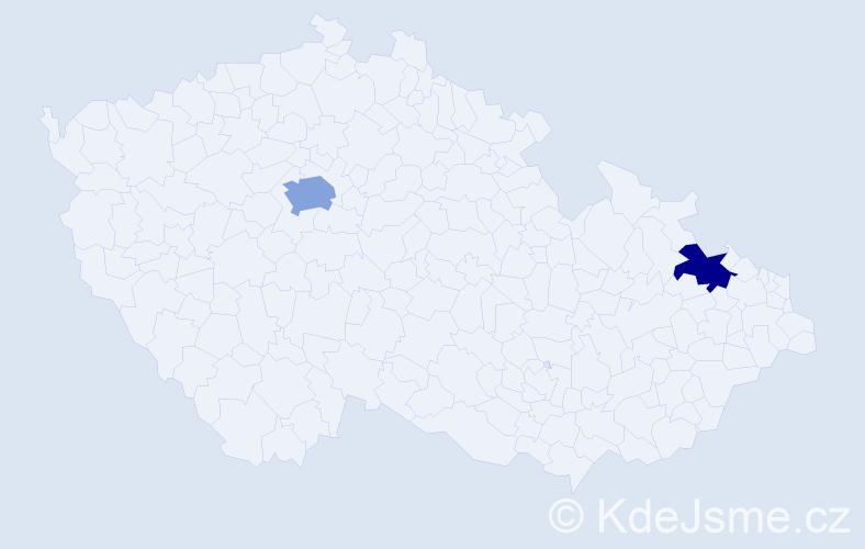 Příjmení: 'Klöslová', počet výskytů 3 v celé ČR