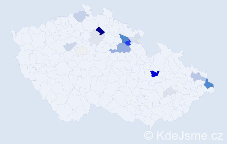 Příjmení: 'Ďurček', počet výskytů 55 v celé ČR