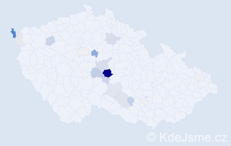 Příjmení: 'Kalhotka', počet výskytů 45 v celé ČR