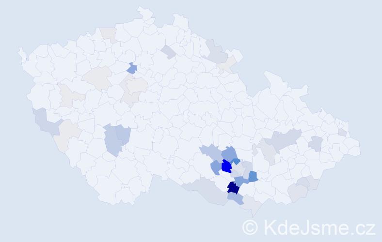 Příjmení: 'Hemala', počet výskytů 152 v celé ČR