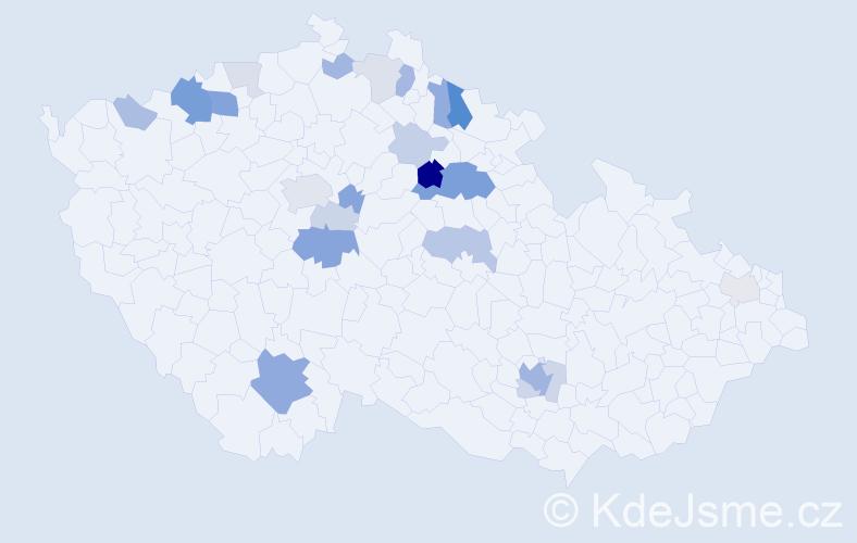 Příjmení: 'Kleplová', počet výskytů 59 v celé ČR