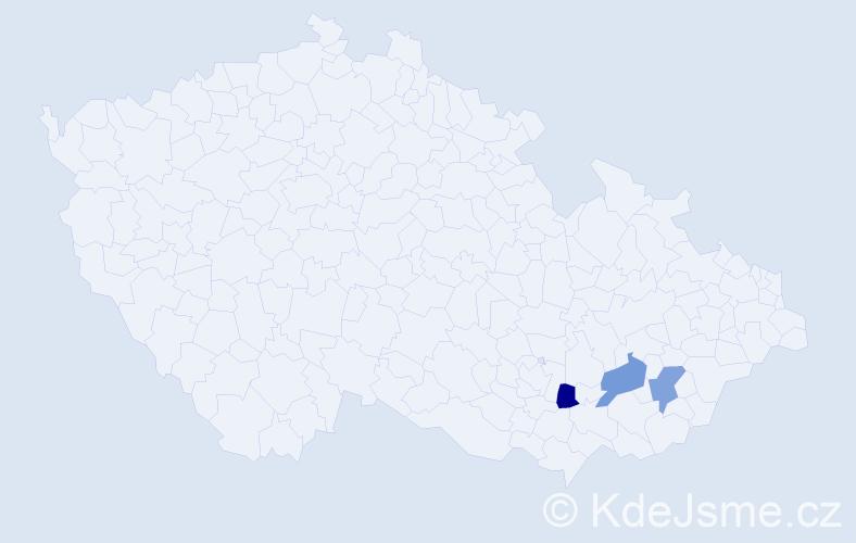 Příjmení: 'Čestnohorský', počet výskytů 3 v celé ČR